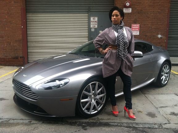 Rachel Walker with the Aston Martin Vantage