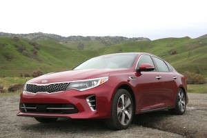 Red 2016 Kia Optima on a mountain by Brittney M. Walker