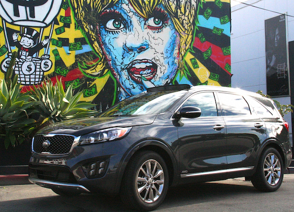 Kia Sorento in front of colorful mural in California. Photo by Brittney M. Walker