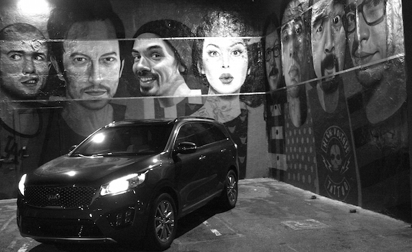 Kia Sorento in front of black and white mural. Photo by Brittney M. Walker