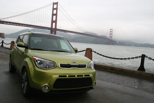 Green Kia Soul at Golden Gate Bridge by Brittney M. Walker